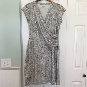Athleta Faux Wrap Gray and White Dress